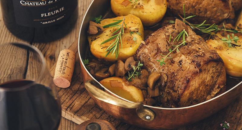 Rôti de porc aux pommes et aux châtaignes