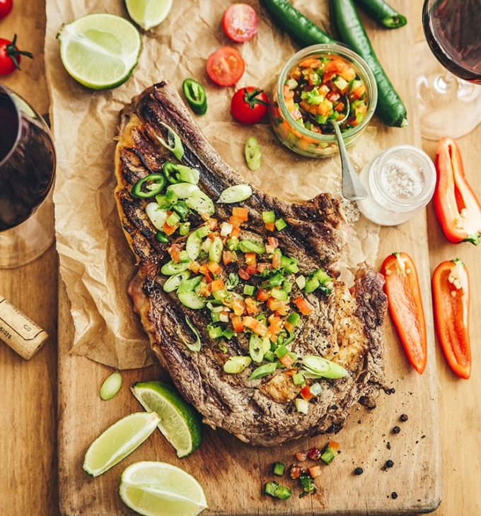 Mexican-style rib of beef with bell pepper salsa