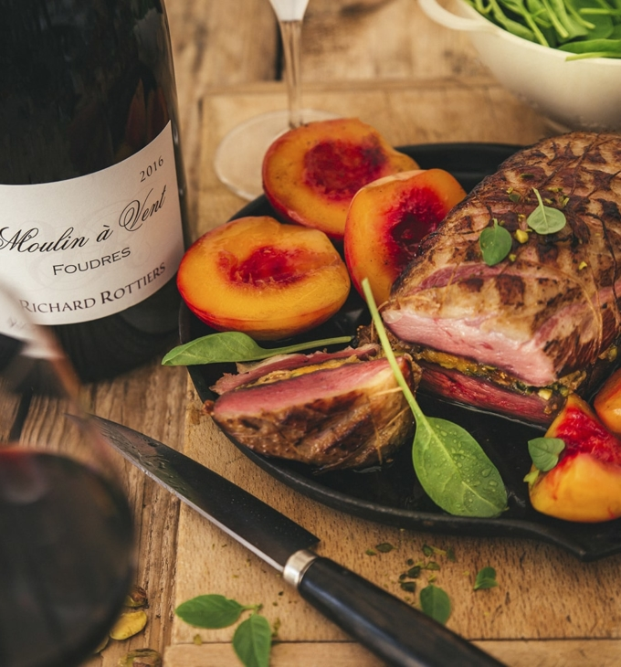 Duck breasts with dried fruit and roasted nectarines