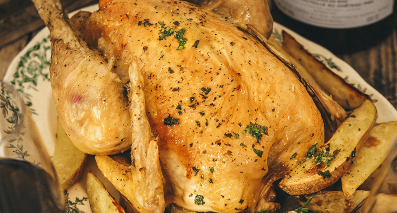 Roasted chicken and crispy potatoes with gremolata