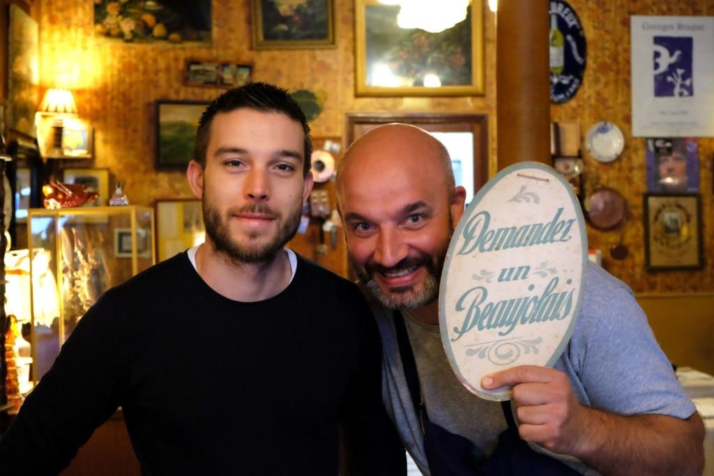 Pierre Cheucle, à droite, est propriétaire du restaurant Chez Marcel.